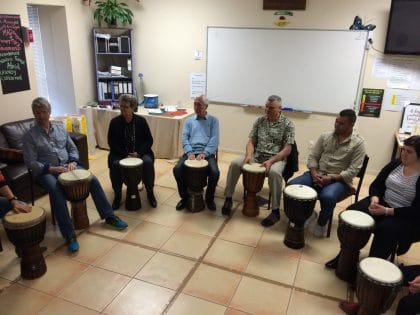 Mental Health & Addictions staff playing the drums