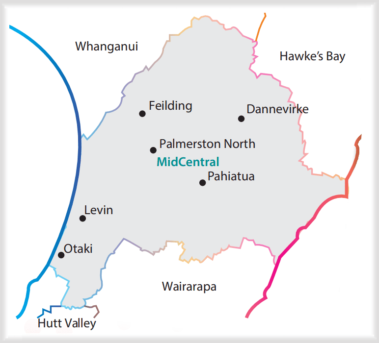 Map showing which regions are affected by Mana Whaikaha (EGL)